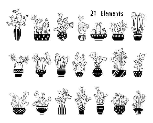 Cactus disegnato a mano con linea bianca nera e set succulento