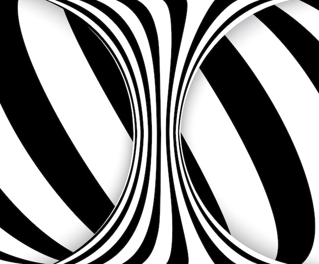Illusione ottica di linee in bianco e nero. spirale a strisce astratta