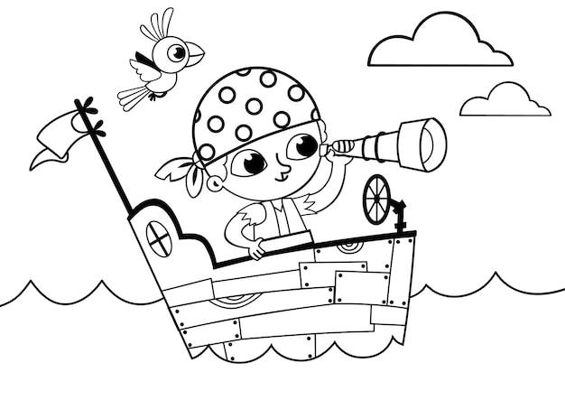 Piccolo pirata in bianco e nero per l'attività del libro da colorare illustrazione vettoriale