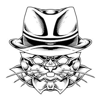 Illustrazione di coniglio della mafia in bianco e nero
