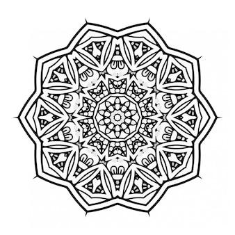 Mandala in bianco e nero design con ornamento