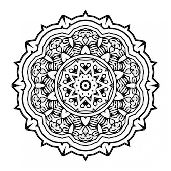 Mandala in bianco e nero design con ornamento Vettore Premium