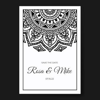 Modello di invito a nozze mandala in bianco e nero premium