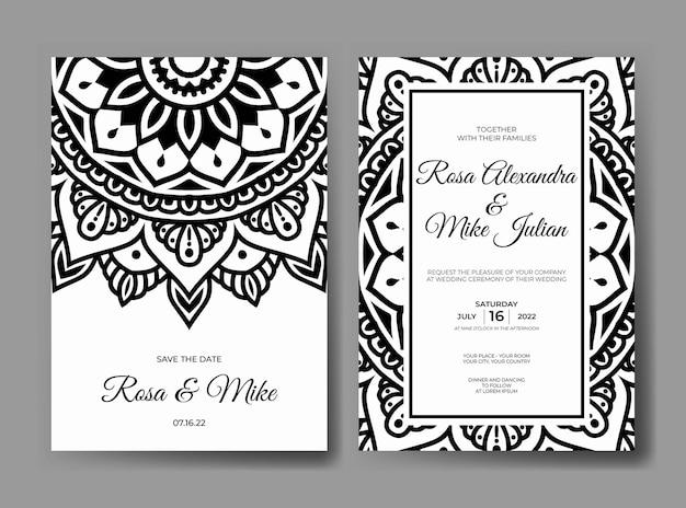 Modello di invito a nozze mandala in bianco e nero