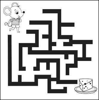Gioco del labirinto in bianco e nero per bambini illustrazione vettoriale di un topo e un piatto di formaggio