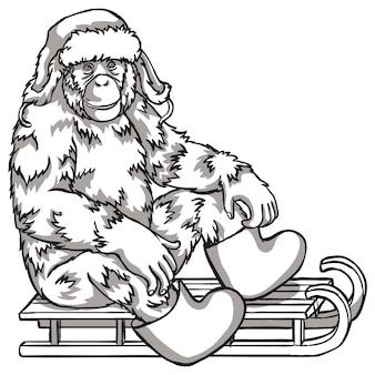Scimmia in bianco e nero su una slitta. illustrazione vettoriale. simboli del capodanno cinese