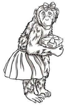 Scimmia in bianco e nero con un regalo illustrazione vettoriale. simboli del capodanno cinese