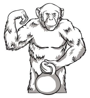 Scimmia in bianco e nero con kettlebell illustrazione vettoriale. simboli del capodanno cinese