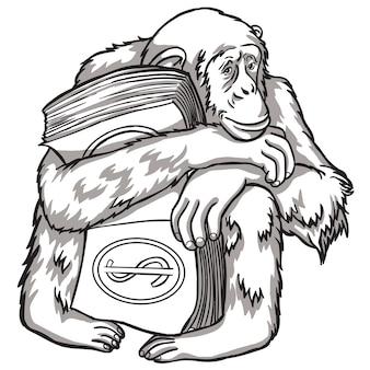 Scimmia in bianco e nero con soldi. illustrazione vettoriale. simboli del capodanno cinese