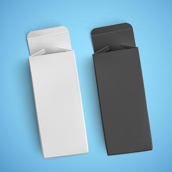 Imballaggi di carta in bianco e nero, modelli di pacchetti per medicinali, illustrazione