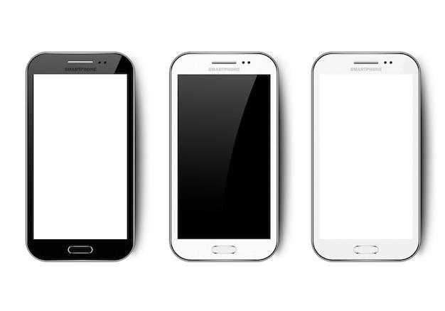 Smartphone realistico in bianco e nero con ombra, fotocamera, pulsante e abbagliamento, telefono cellulare