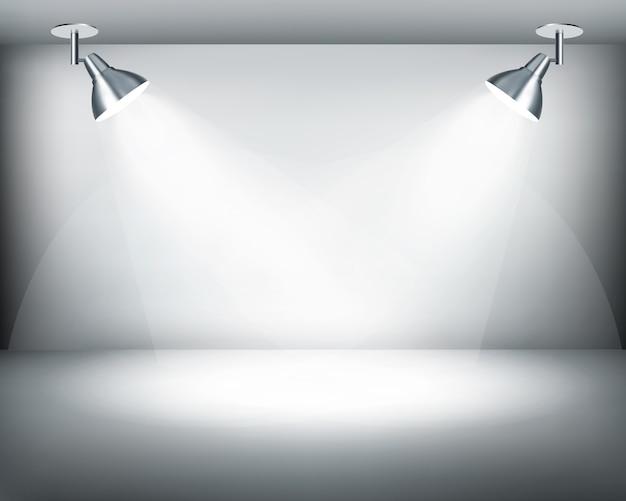 Showroom retrò in bianco e nero con due luci.