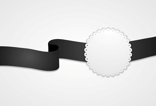 Etichetta in bianco e nero con nastro e cerchio. disegno vettoriale
