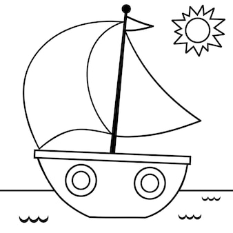 Illustrazione vettoriale di vela in bianco e nero