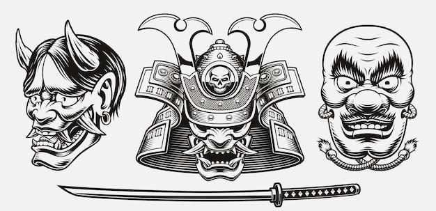 Illustrazione a tema samurai in bianco e nero isolata su white
