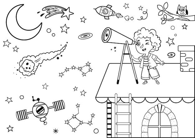 Il bambino amante della scienza in bianco e nero osserva lo spazio sul suo tetto con il suo telescopio