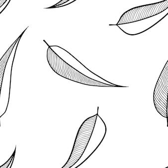 Reticolo senza giunte in bianco e nero da foglie astratte ricci su sfondo bianco.
