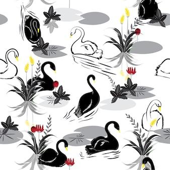 Modello senza cuciture in bianco e nero di cigni nel lago