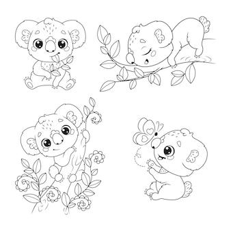 Set in bianco e nero di koala carini