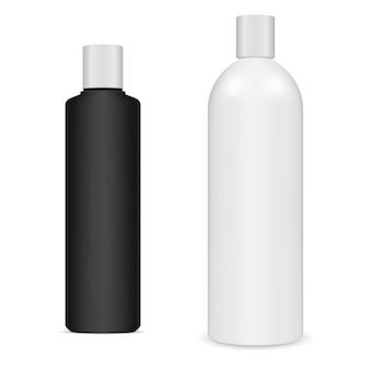 Bianco nero bottiglia di shampoo vuoto isolato in bianco. pacchetto bellezza crema corpo. modello di crema idratante doccia realistico. cura dell'igiene, confezione di sapone da bagno