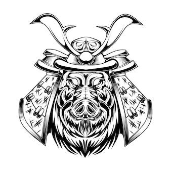 Scheletro in bianco e nero con illustrazione di maiale samurai