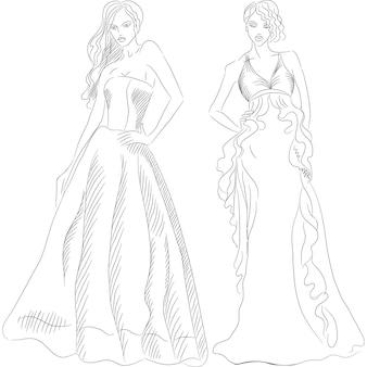 Schizzo in bianco e nero di belle ragazze con i capelli lunghi in abiti da sera di moda isolati su priorità bassa bianca