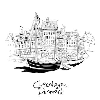 Schizzo in bianco e nero di nyhavn con facciate di vecchie case e vecchie navi nel centro storico di copenaghen, capitale della danimarca.
