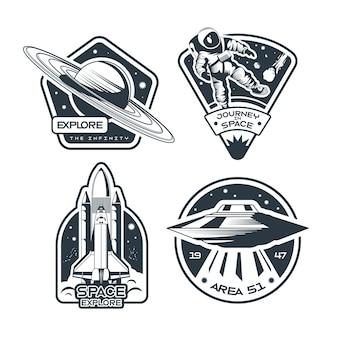 Insieme dell'emblema dello spazio in bianco e nero