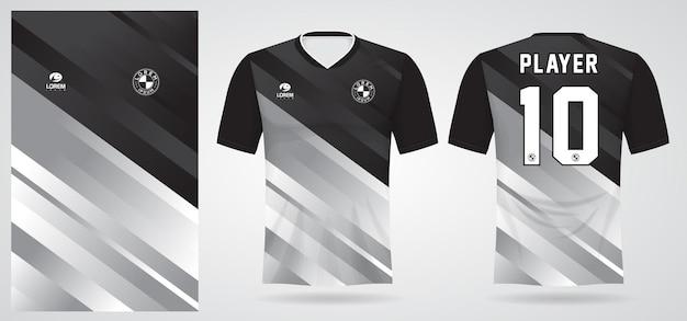 Modello di maglia sportiva bianca nera per le divise della squadra e il design della maglietta da calcio