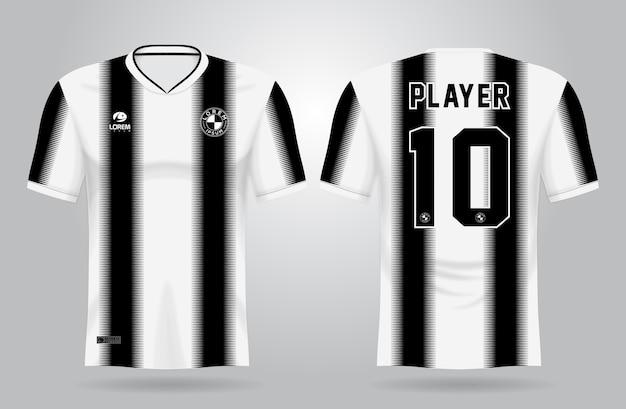 Modello di jersey sportivo bianco nero per divise della squadra