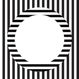 Sfondo con motivo a strisce bianche e nere con design della casella di testo
