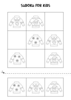 Sudoku in bianco e nero con brutti maglioni natalizi per bambini in età prescolare. gioco logico.