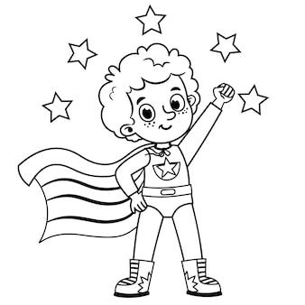 Personaggio super eroe in bianco e nero per attività di pittura isolato su bianco illustrazione vettoriale