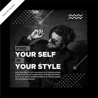 Modello di post sui social media per la promozione della vendita eccellente in bianco e nero