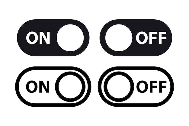 Pulsanti dell'interruttore in bianco e nero on off attiva/disattiva il controller switcher on e off attiva/disattiva il pulsante dell'interruttore