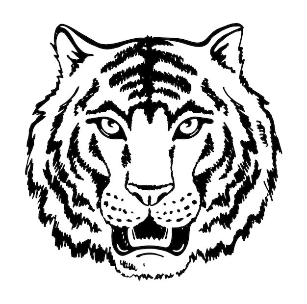 Faccia di tigre in bianco e nero che ringhia testa di tigre silhouette vettore 2022 testa di tigre anno della tigre