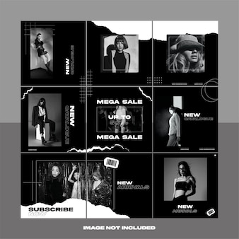 In bianco e nero carta strappata moda street wear social media instagram puzzle template bundle post