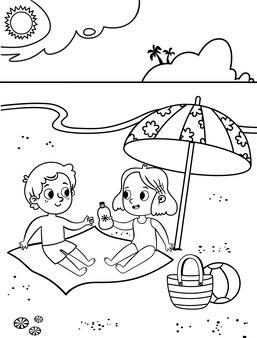 Due bambini carini in bianco e nero che si divertono sulla spiaggia tropicale pagina attività da colorare per bambini
