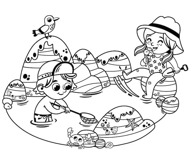 Due bambini in bianco e nero, un ragazzo e una ragazza si divertono sulla spiaggia vacanze estive per bambini