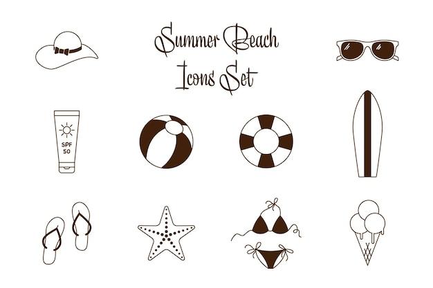Accumulazione di vettore in bianco e nero delle icone piane di vacanza al mare. delinea le icone estive per il tempo libero in spiaggia per le vacanze