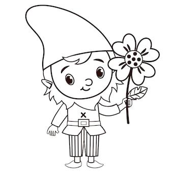 Il personaggio di gnomo vettoriale in bianco e nero tiene in mano un fiore