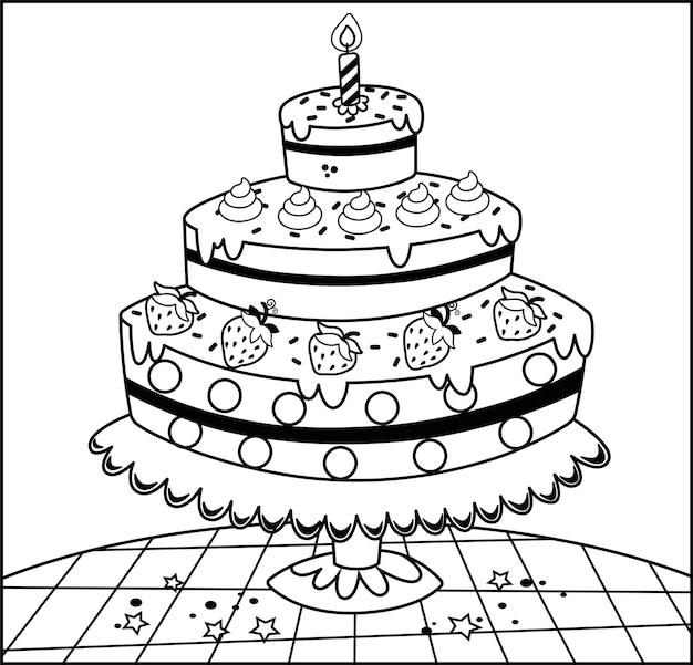 Illustrazione vettoriale in bianco e nero di una torta di compleanno