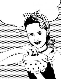 Illustrazione in bianco e nero di vettore di una casalinga nello stile di arte comica. la bella donna sta cucinando.