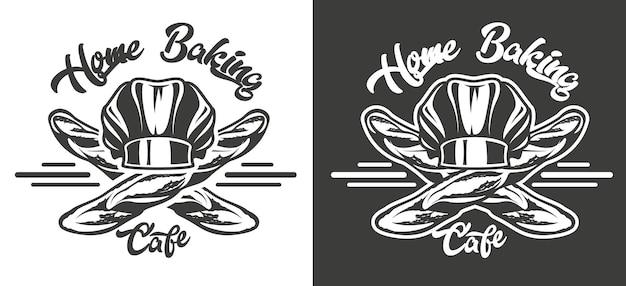 Emblema vintage in bianco e nero sul tema della panetteria artigianale. vettore