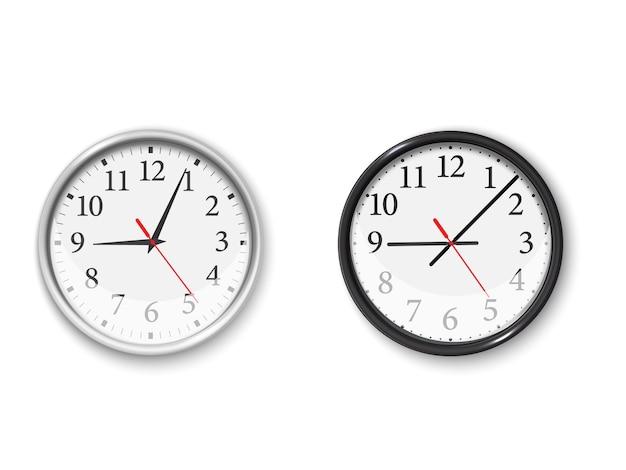 Orologio da parete in bianco e nero impostato in stile realistico su sfondo bianco. orologio da parete al quarzo