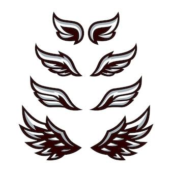 Set di ali in bianco e nero