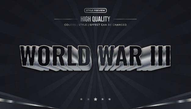 Illustrazione di effetto del testo di guerra mondiale in bianco e nero