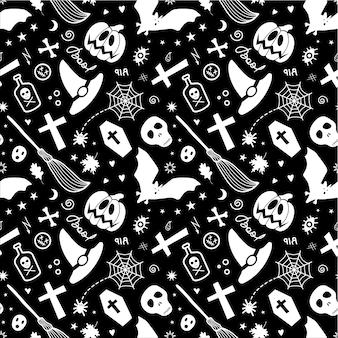 Modello senza cuciture in bianco e nero di halloween.
