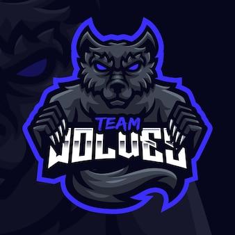 Modello di logo di gioco della mascotte del lupo nero per lo streamer di esports facebook youtube