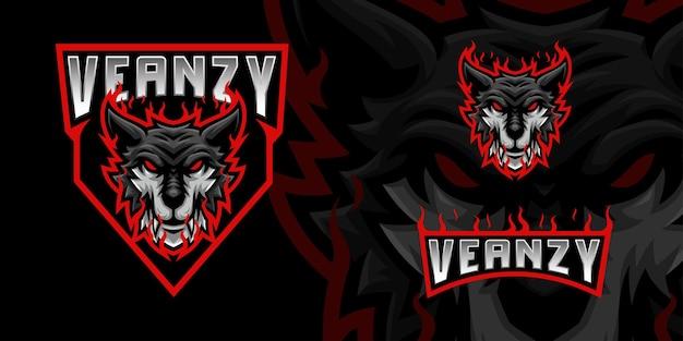 Logo della mascotte del lupo nero per lo streamer e la community di esports